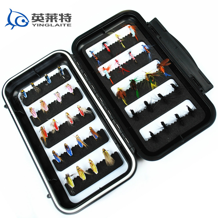 free shipping 40pcs fly fishing flies combo with a heavy duty box<br><br>Aliexpress