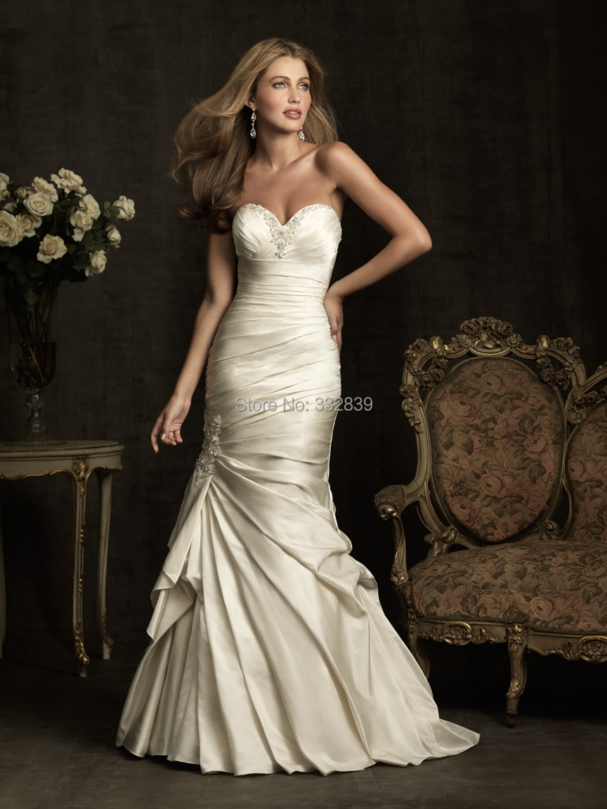 2014 new design sexy mermaid satin wedding dresses crystal for Mermaid wedding dress with train