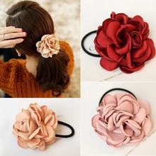 Fashion Charming Hair Bands Elegant Simulation Roses String Flowers Scrunchie Women Colorful Pink Khaki Purple Hair Accessories(China (Mainland))