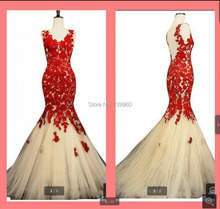 2014 Free shipping- attractive Sexy red Mermaid trumpet lace Applique prom dress Formal gorgeous Celebrity prom Dress(China (Mainland))