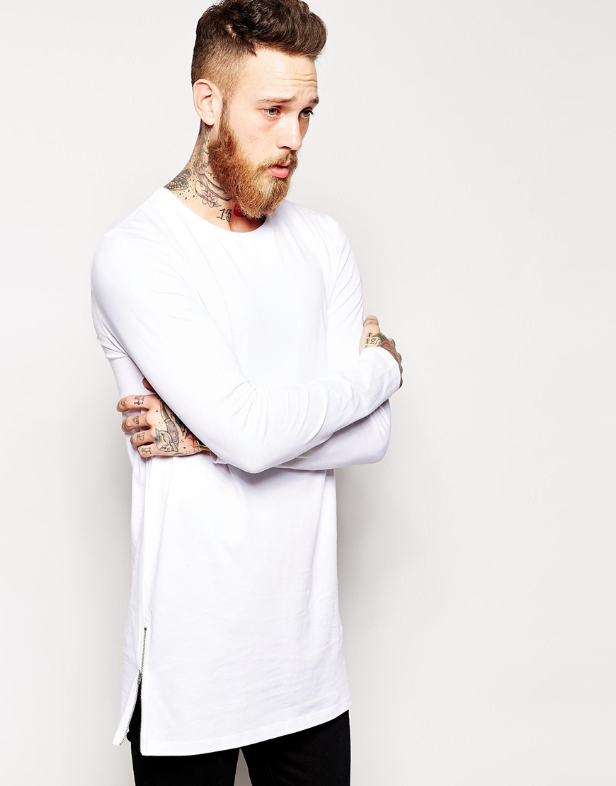2015 new arrival longline long sleeve t shirt extra length Mens long sleeve white t shirt
