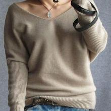 2016 autumn winter 100 cashmere sweater women fashion sexy v-neck sweater loose long sleeve solid 100% wool sweater(China (Mainland))