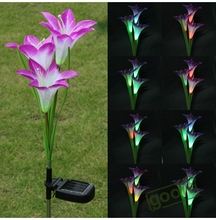 Purple LED Solar Power Lily Flower Garden Stake Light Color Changing Outdoor Garden Path Yard Decoration 3 LED Flower Party Lamp(China (Mainland))