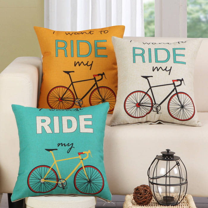 Bicycle Printed Cotton Linen Sofa Cushion Embrace Pillow 45x45cm/17.7x17.7'' Throw pillow Home Decor Textile seat cushion(China (Mainland))