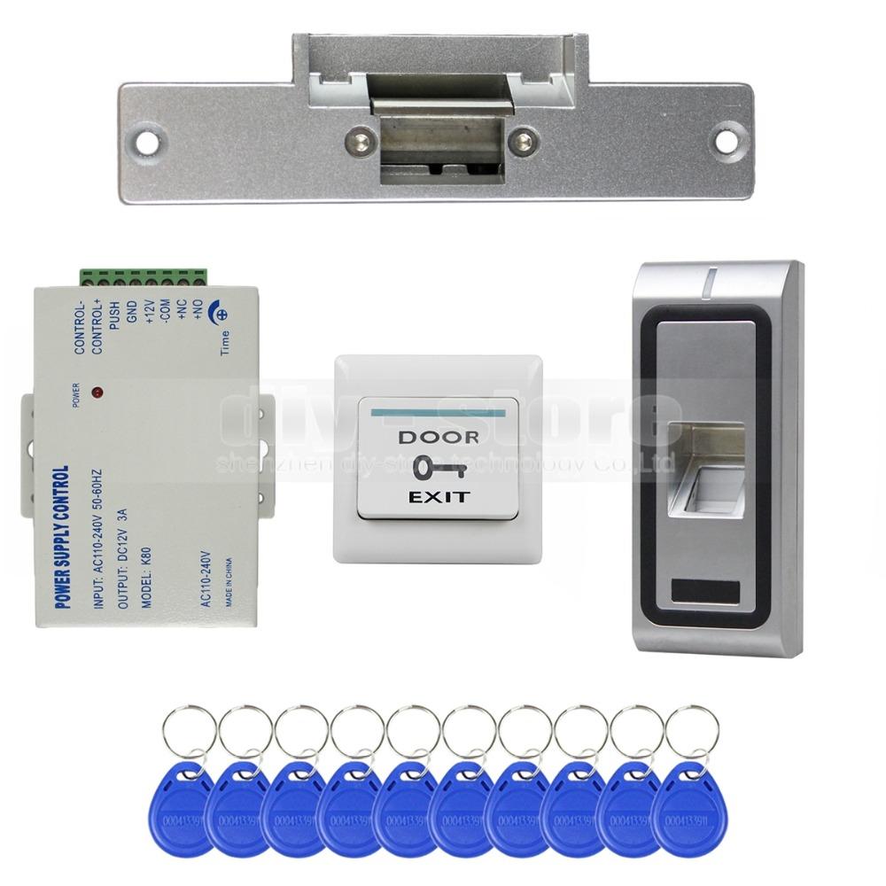 DIY Fingerprint 125KHz RFID ID Card Reader Door Access Control System Kit + Electric Strike Lock + Remote Control CFR10(China (Mainland))
