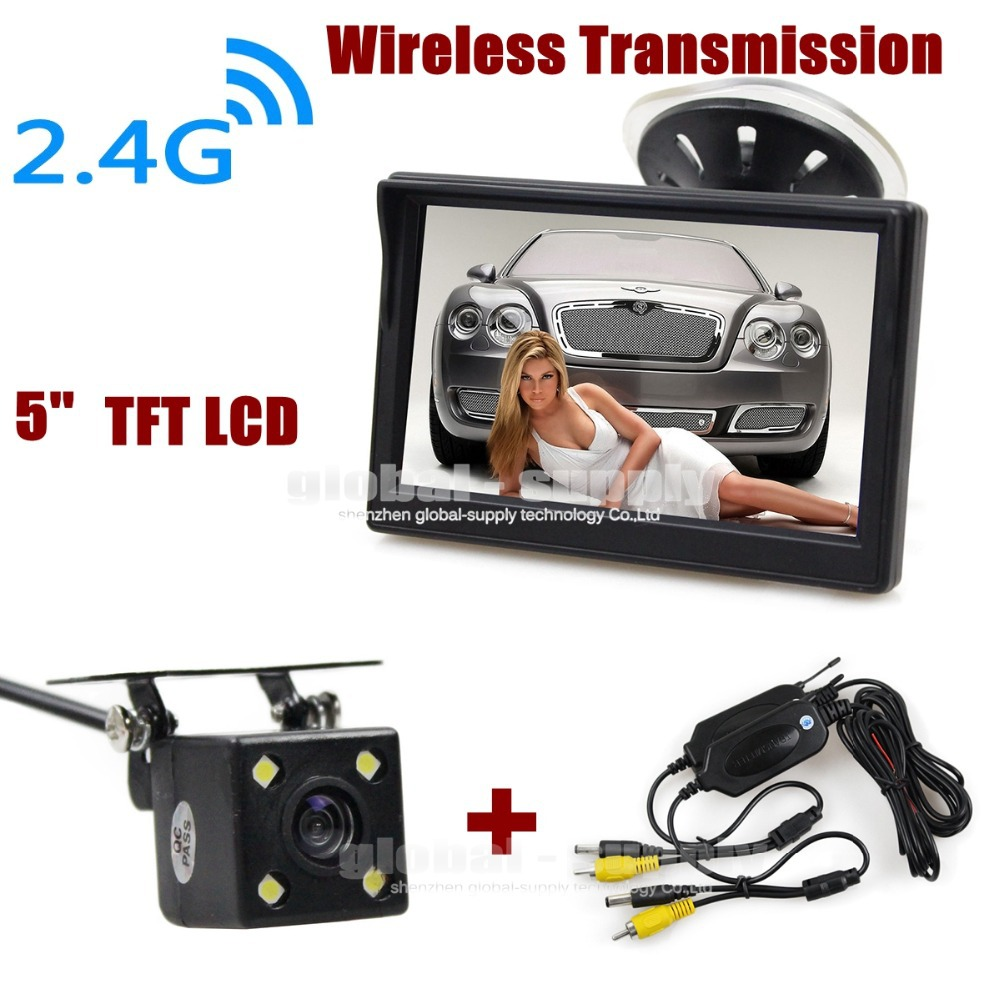 LED Night Vision Car Rear View Parking Wireless Reversing Car Camera + 5 Inch Video Car Monitor Rear View Security System(China (Mainland))