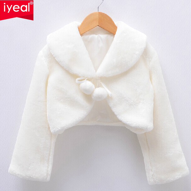 High Quality New Arrival 2015 Girls Jackets and Coats Winter Faux Fur Long Sleeves Kids Baby Coats Fashion Flower Girl Bolero(China (Mainland))