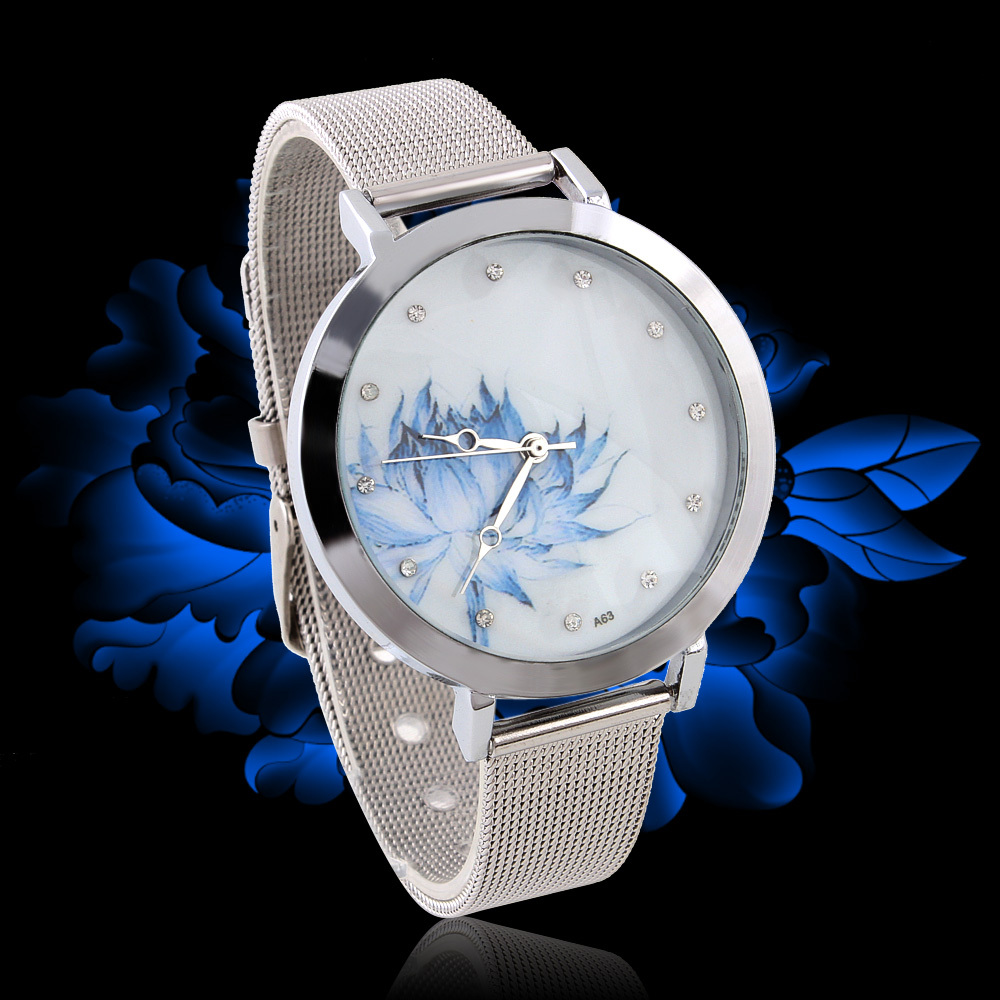 Fashion Women Rhinestone Watches Flower Dial Quartz Casual Lady Wristwatches - Coo Trade Co. Ltd. store