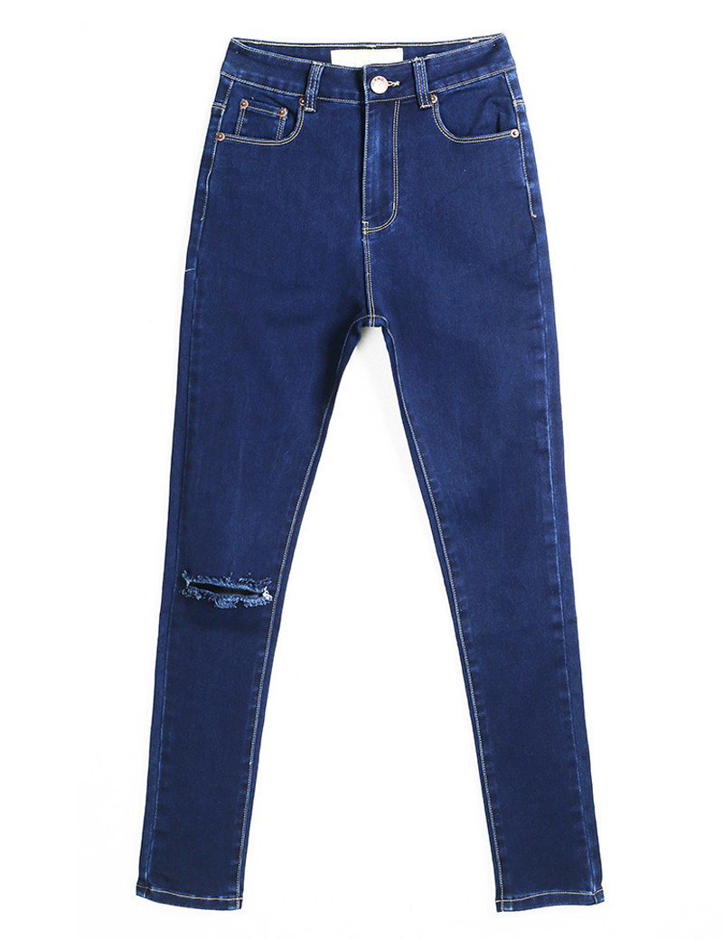 Luxury Womens Casual Denim Jeans Pants Straight Leg Pull On Elastic High
