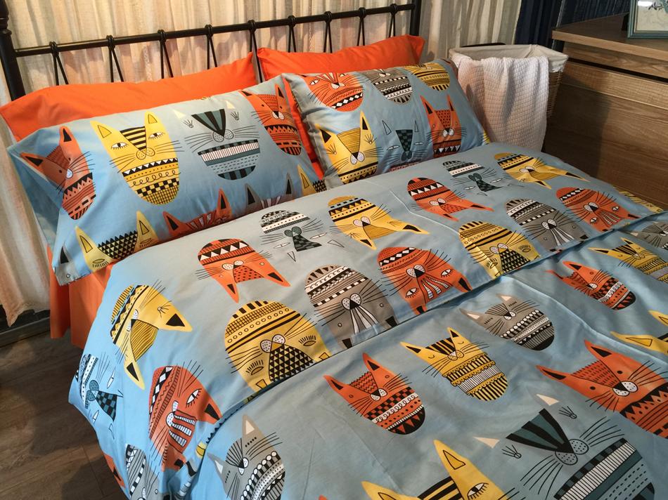 100% Cotton Cat Print Bedding Kids King Queen Size 4pcs Animal Duvet Cover Blue Orange Cat Comforter Set New Arrival Fashion(China (Mainland))