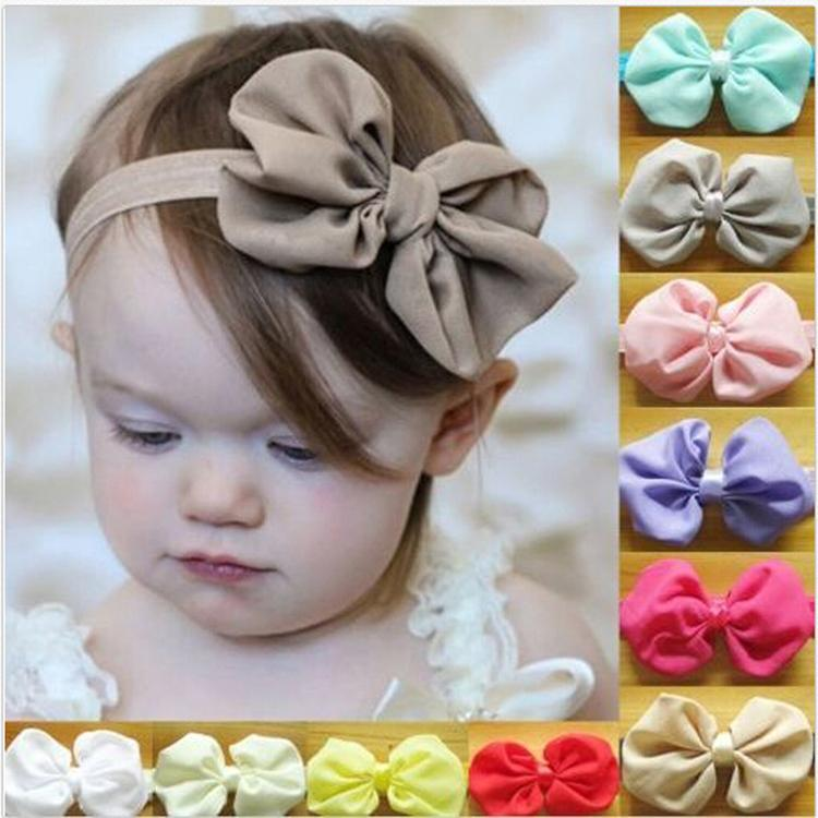 New 1pc Chiffon Cute Bowknot Baby Headbands Cotton Soft Solid Color Baby Girl Elastic Hair Bands Baby Fashion Accessories BB-265(China (Mainland))