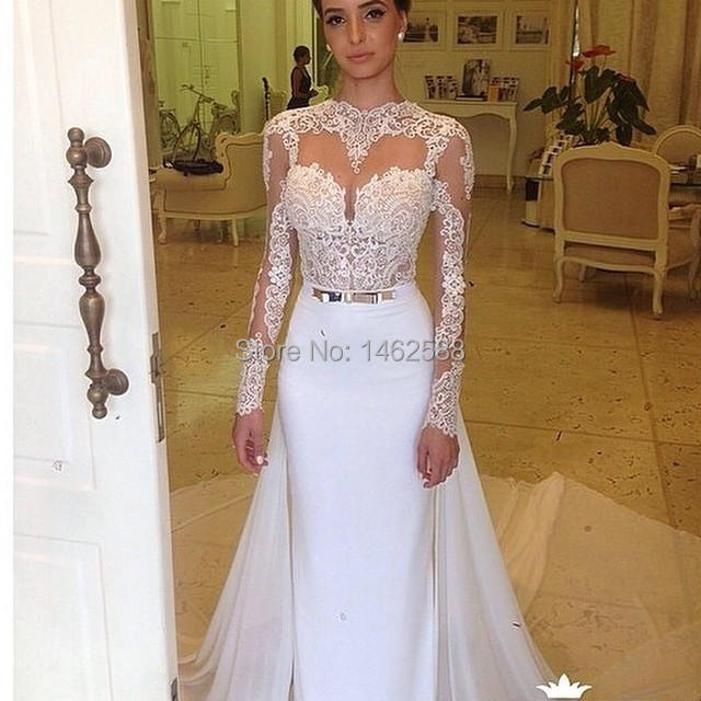 Sheer Lace Long Sleeves Open Back Gold Belt Satin Mermaid