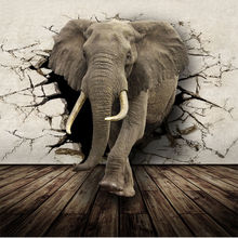 3D Lifelike Animal Mural Wallpaper  Customized Rhino/Lion/Elephants Non-Woven paper Wall Mural New Photo Wallpaper Hoom Decor(China (Mainland))