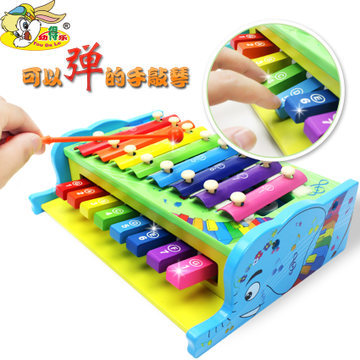 Young children's musical toys Sidel multifunctional wooden hand knock piano baby can play eight sound(China (Mainland))
