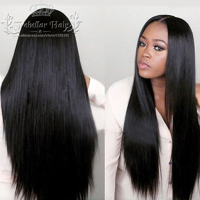 Full Lace Straight Human Hair Wig 8-24inch In Stock Brazilian Virgin Hair Full Lace Wig For Women Natural Straight Lace Wig(China (Mainland))