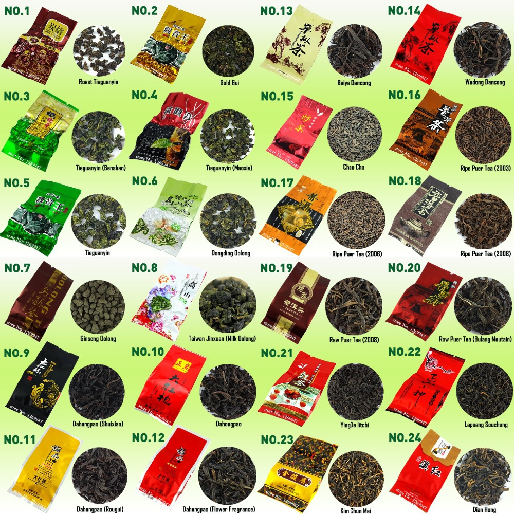 35 Different Flavors Famous Tea Chinese Tea including Oolong Puer Black Green White Herbal Flower Tea High Quality Gift 215g(China (Mainland))