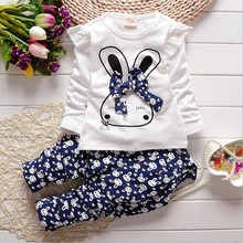 New Kids girl baby Set clothing style spring autumn children Girls Cute Rabbit cotton long sleeved T-shirt + pants Child suit(China (Mainland))