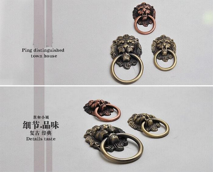 3PCS/Lot Zinc Alloy Lion Shape Furniture Knob Cupboard Closet Drawer Ring Pull Tab With Free Screws(China (Mainland))