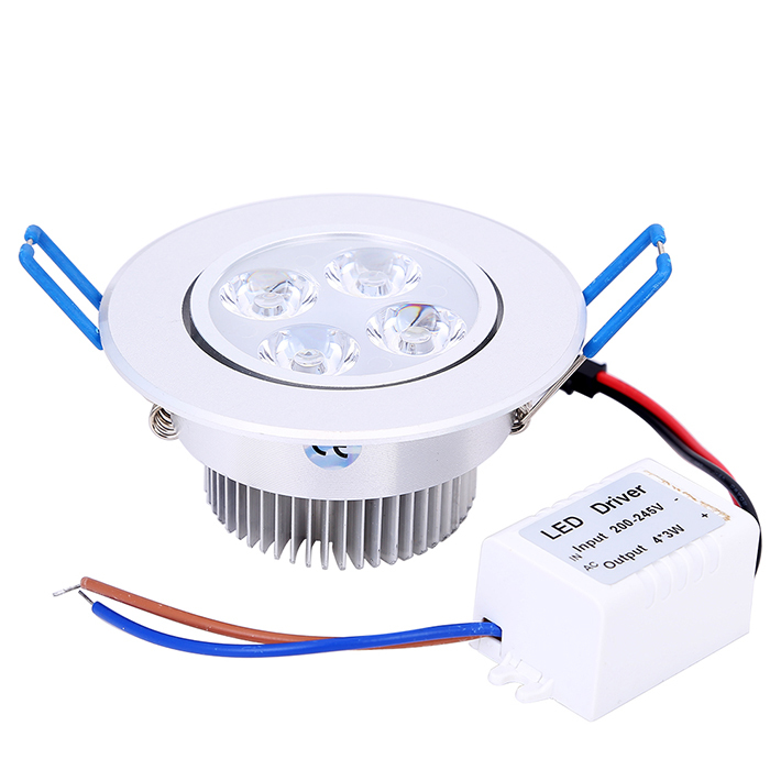 10pcs/lot Dimmable LED Downlight 12W LED Ceiling Lamp 4x3W White Body Recessed Light Spot LED 110V 220V for Home illumination(China (Mainland))