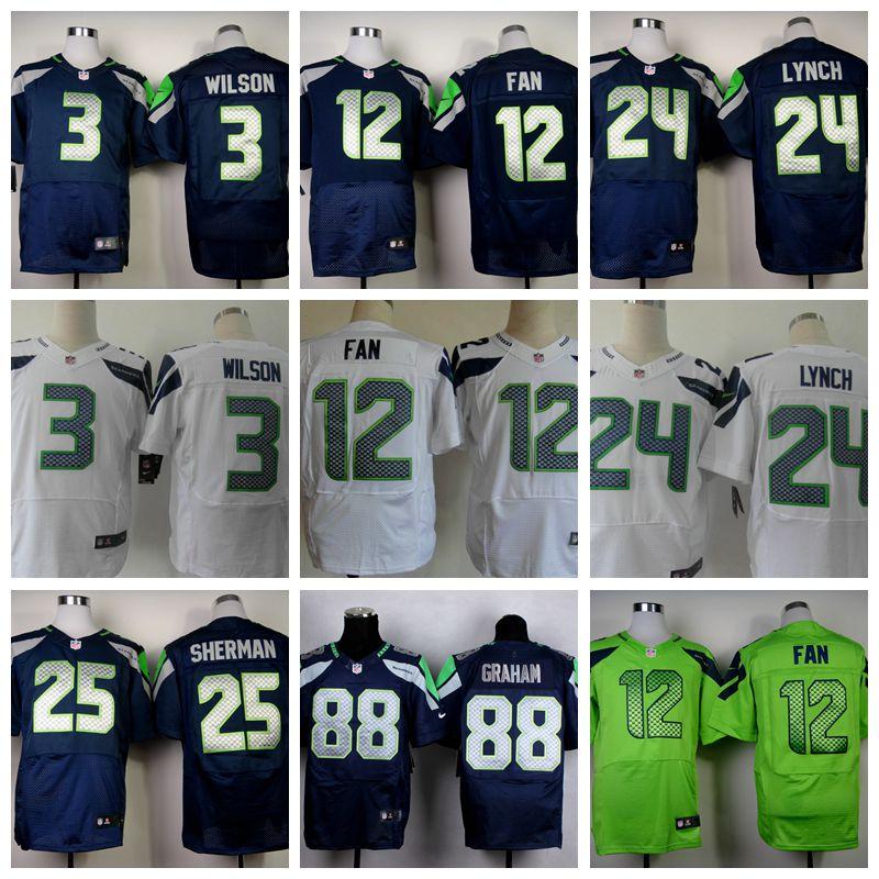 Mannen 24 Marshawn Lynch jersey 88 Jimmy Graham 25 Richard Sherman 31 Kam Bondskanselier jersey size M-XXXL(China (Mainland))