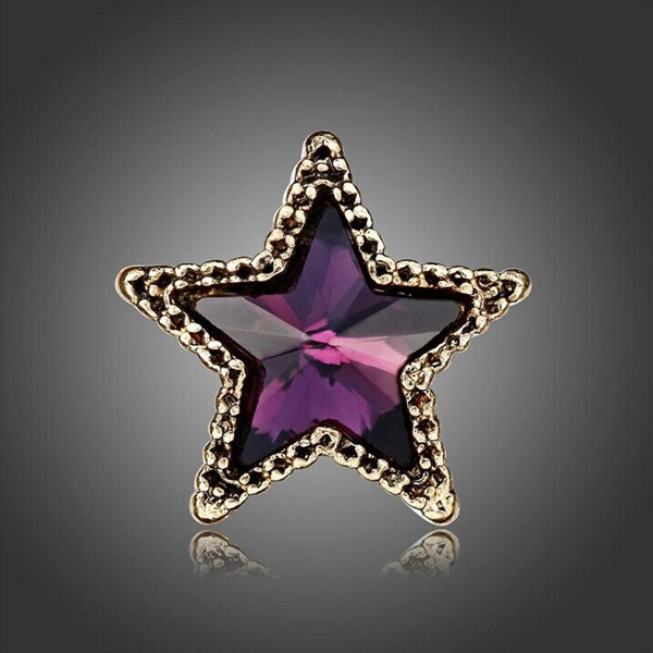 Crystal Five Star Brooch For Women Blue Rhinestone Gold Plated Brooch For Wedding Gift Fine Jewelry Wholesale Brooch Pins(China (Mainland))