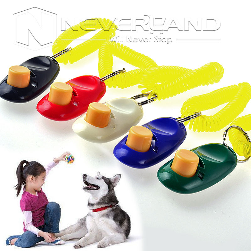 Hot sale 1pcs Dog Pet Training Aid Clicker Trainer with Wrist Strap 5 Colors Free shipping C10(China (Mainland))