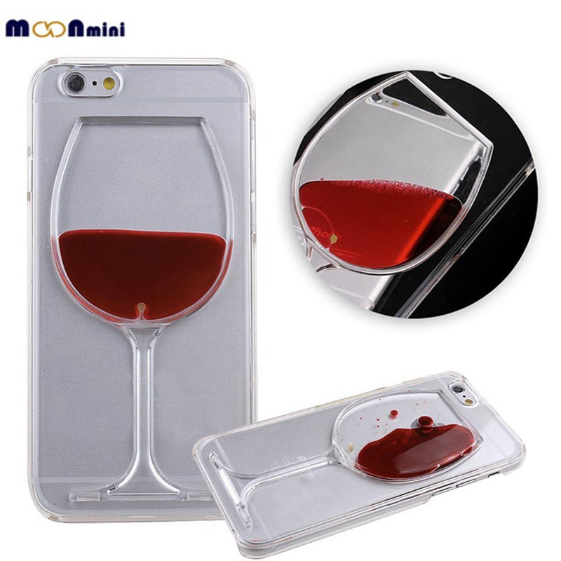 """2016 New Fashion Luxury Transparent 3D Wine Glass Dynamic Liquid Hard PC Clear Back Case Cover Shell for Apple iPhone 6 6S 4.7 """"(China (Mainland))"""
