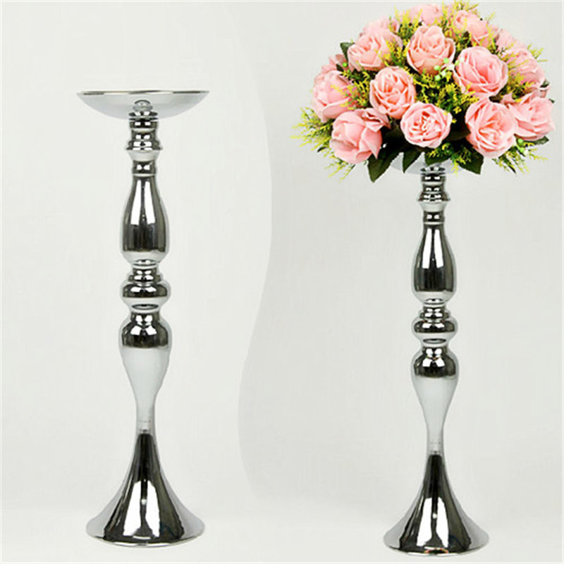 Silver Metal Candle Holders 50cm/20'' Stand Flowers Vase Candlestick As Road Lead Candelabra Centre Pieces Wedding Decoration(China (Mainland))