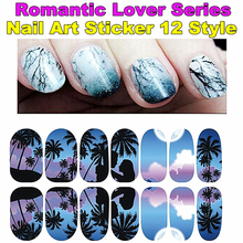 Romantic 12 Types Lover Art Nail Sticker Flower Tip Nail Europe style Sheets cute DIY strip Nails Decal Manicure nail tools