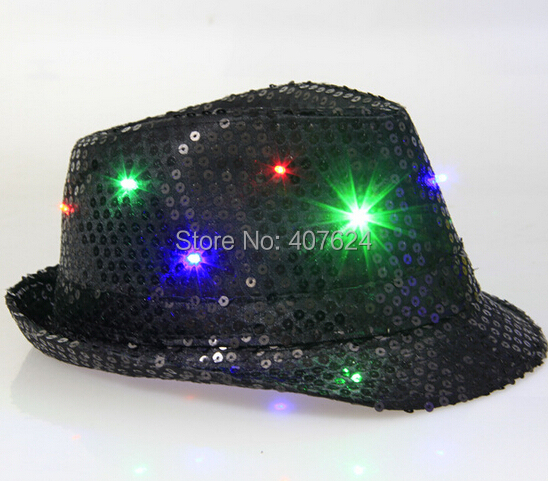 6PCS/Lot Adult and Children LED Red cowboy hats flashing sequined glitter cowboy hat Jazz fedora hat Free Shipping(China (Mainland))