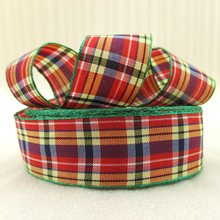 5Y42284 width:21mm red plaid scotish ribbon printed polyester ribbon 5 yards, DIY handmade materials, wedding gift wrap