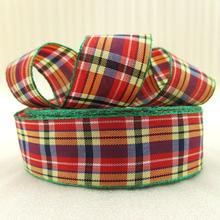 5Y42284 width:21mm red plaid scotish ribbon printed polyester ribbon 5 yards, DIY handmade materials, wedding gift wrap