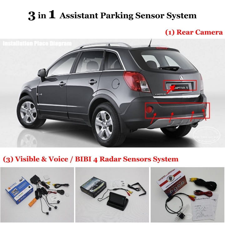 For Holden Barania / Captiva - Car Parking Sensors + Rear View Camera + 4.3 LCD Screen = 3 in 1 Visual Alarm Parking System<br><br>Aliexpress