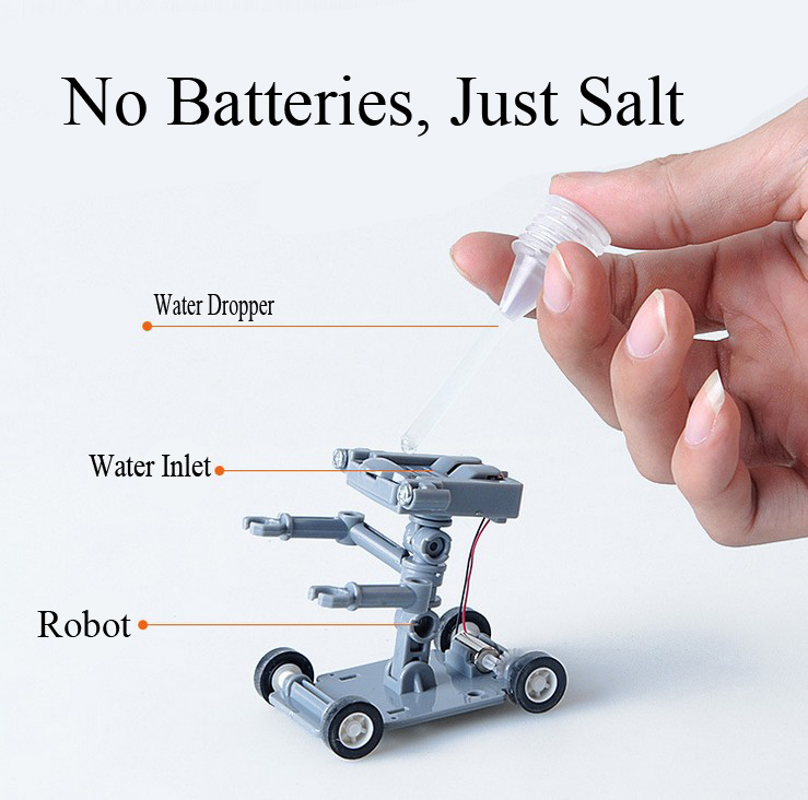 Hot Sale Salt Water Power Robot DIY Mini Without Battery Safe Creative Toys Car Children Educational Toy Gift(China (Mainland))