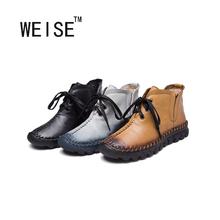 WEISE Invierno Botas Mujer Botas de Invierno Cálido de Felpa Zapatos de la Nueva Llegada 2016 Mujeres Del Cuero Genuino Botas de Nieve Botas Zapatos(China (Mainland))