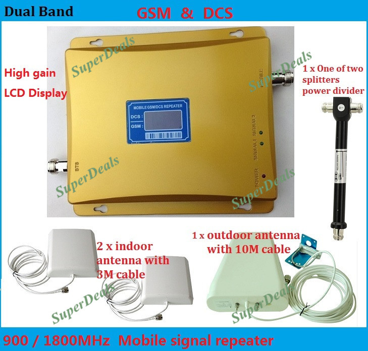 LCD display ! Dual band 2G 4G repeater GSM 900 + DCS 1800 mobile phone signal booster repeater two indoor antennas booster sets(China (Mainland))