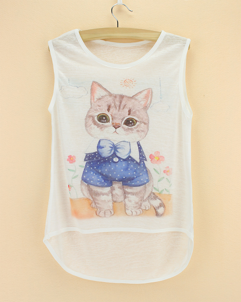 top tees sleeveless see through thin soft animal printed children t shirt 2015 summer cool kids cat cheap bamboo cotton tee(China (Mainland))