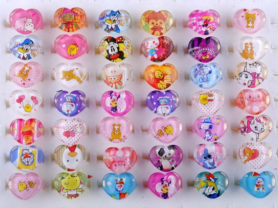 New Wholesale Mixed Lots 20Pcs Cute Cartoon Children/Kids Resin Lucite Rings(China (Mainland))