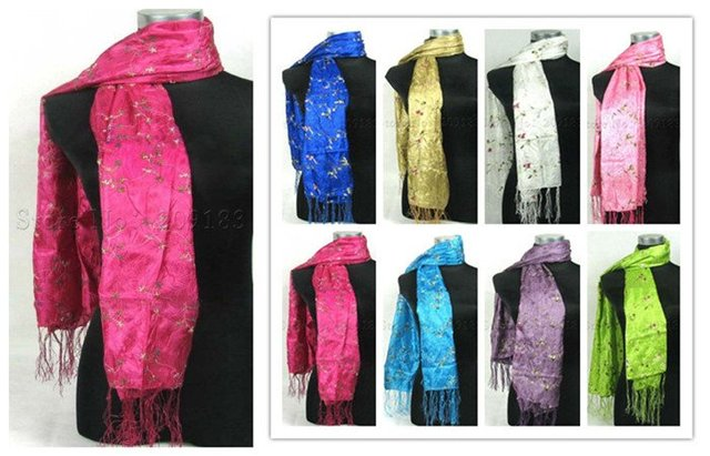 Free shipping! Wholesale lots of 20 pcs  embroidery silk Scarves Shawl Wrap Scarf