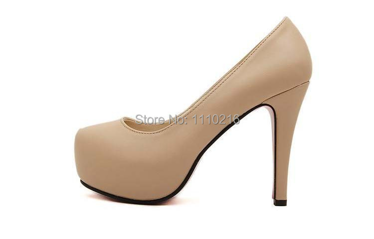 2016 hot sale fashion sexy round toe high heels women's platform party wedding pumps large size high heeled single shoes 34-44