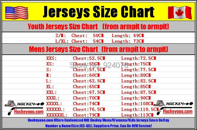 authentic hockey jersey sizes