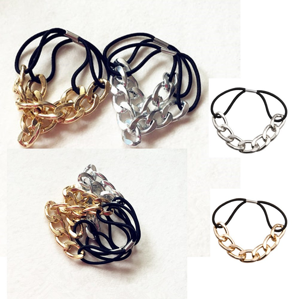 On Sale Womens Luxurious Metal Alloy Elasticity Headband Classic Gold Color Chain Hair Bands Vintage Hair Accessories(China (Mainland))