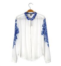 Blusas Femininas 2015 Retro Womens Tops Fashion Summer Blouses Blue And White Porcelain Print Chiffon Tops Long Sleeve Shirts(China (Mainland))
