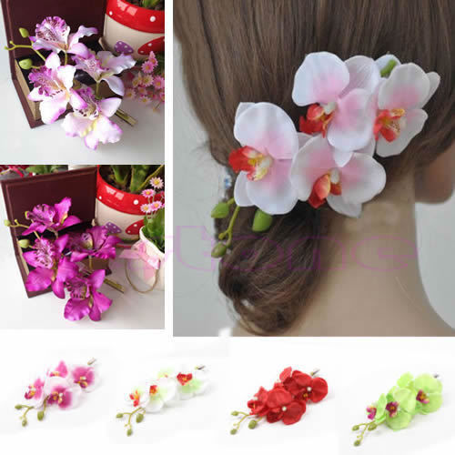New Girl Womens Flower Orchid Hair Clip Wedding Bridal Party Hair Head AccessoriesFreeshipping(China (Mainland))