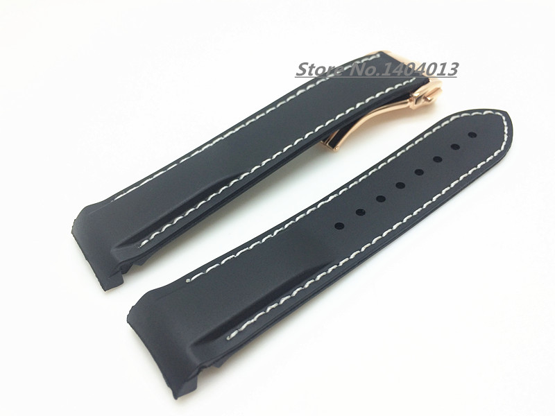 20mm NEW TOP GRADE white stitched Waterproof Diving black Silicone Rubber Watchband Bands Straps buckle O-M-E watch - JAWODER Store store