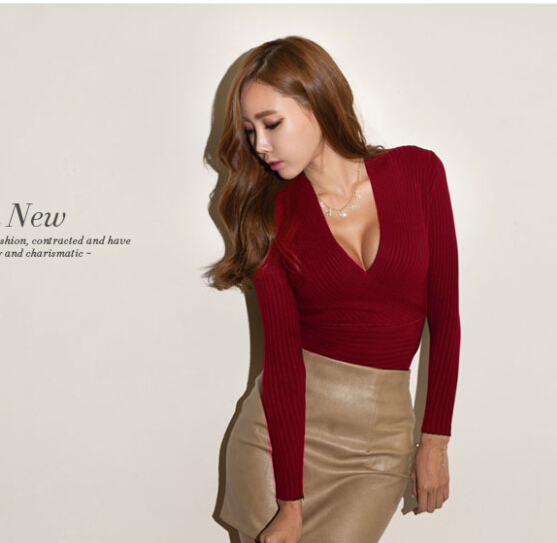 Stylish lady women sexy low cut wrap long sleeve fitted v for Low neck t shirts women s