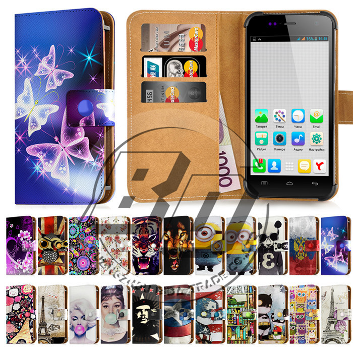 Brand New Universal Case For 4.7 Inch Flip Wallet PU Leather Printed Cases Cover For Phone Explay Vega With Card Slots(China (Mainland))