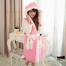 High quality Panda Cartoon Adult Robes for women 2016 Long Sexy robe d' Rabbit Stitch Cow Seep Animal Sleep Lounge Bathrobes(China (Mainland))