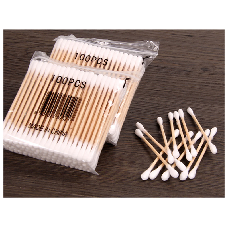 2Pack Double Head Wood Cotton Swabs Stick Cotton Buds Tip For Medical Cure Health Beauty Disposable Bud Repair Tools(China (Mainland))
