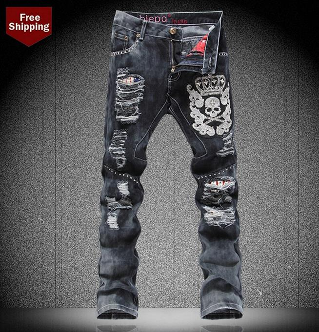 Black fashion dance embroidery skull hole rivets jeans men trousers street personality straight singer denim pants mens punkОдежда и ак�е��уары<br><br><br>Aliexpress